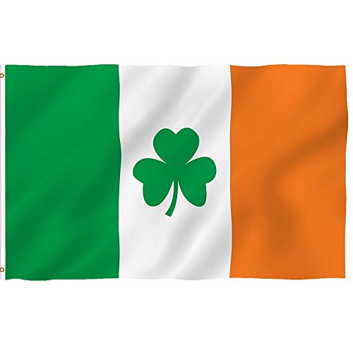 Colorful Flagge Fahne, 3x5Ft Irland-Kleeblatt-Flagge Ösen Saint Patricks Day Clover Flags Banner