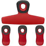 Cook with Color Set of Four Bag Clips, 1 Large Heavy Duty Chip Clip and 3 Refrigerator Magnet Clips for Food Storage with Air Tight Seal Grip for Snack Bags and Food Bags (Red)