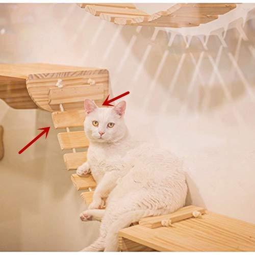 Felivecal Étagères pour chat Étagères pour chat Arbre à chat, cadre d'escalade mural en bois massif pour chat Mobilier moderne Centre d'activités Échelle de pont suspendu Accessoires muraux pour chat