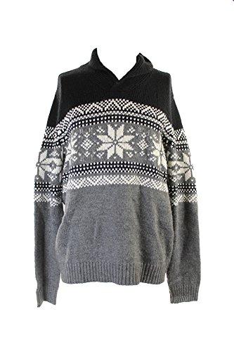 Club Room Mens Shawl Collar Fair Isle Pullover Sweater Black L