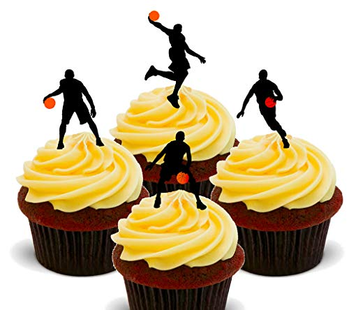 Made4YouTorten-, Cupcake-Dekoration - Basketball-Motive, essbar, Ess-Oblaten zum Aufstecken, 24er-Pack
