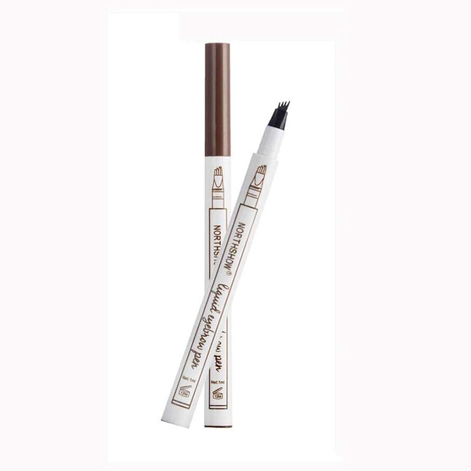 鹿十分ですパパOnior タトゥーアイブロウペン4つのヒント - 防水フォークチップスケッチ化粧ペンマイクロブレードインクスケッチB丈夫で実用的