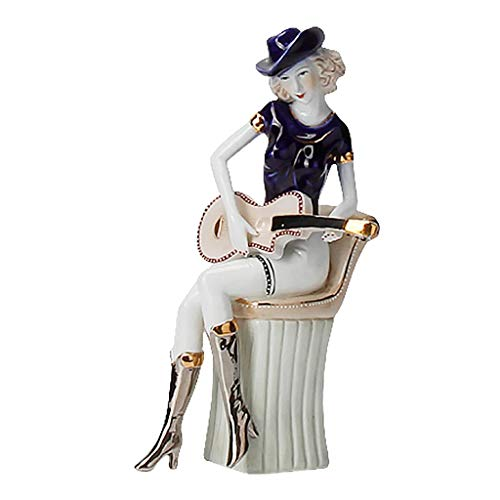 JYDQM 1 unid artesanía de cerámica Guitarra niña Estatua Escultura Instrumentos Europeos Mujer Figurines Mesa Creativa Adorno para la decoración del hogar