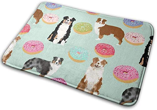 "Tpp Aussie Dogs Donuts Cute Mint Fabric Best Doughnuts Fabric Cute Australian Shepherd Fabric Floor Bath Entrance Rug Mat Absorbent Indoor Bathroom Decor Doormats Rubber Non Slip 15.7"" X 23.5"""