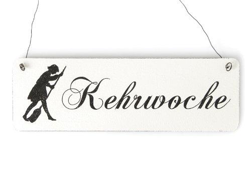 Interluxe Shabby Vintage Schild Türschild KEHRWOCHE Landhaus Chic Holzschild Putzen Kehren