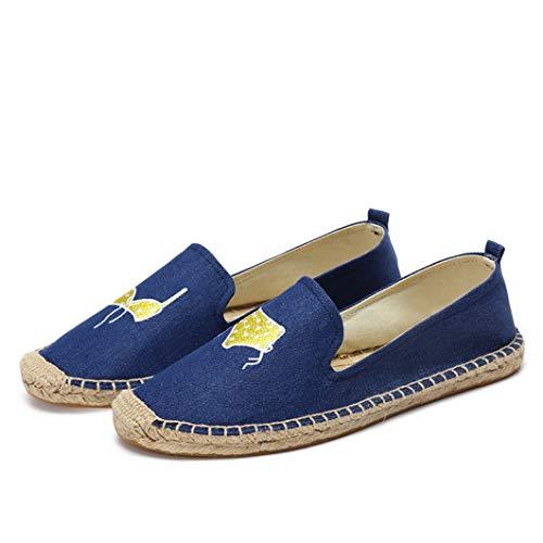 Alpargatas Planas para Mujer Mocasines sin Cordones con Punta Redonda Zapatos cómodos de Lona Holgados