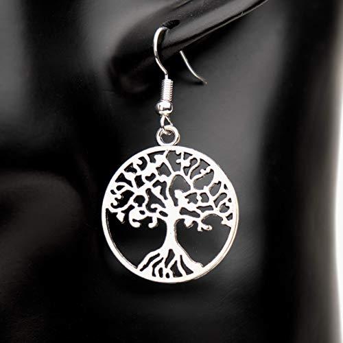HOLY TREE - Ohrringe Baum des Lebens keltisch Weltenbaum rund hängend Farbe: Silber