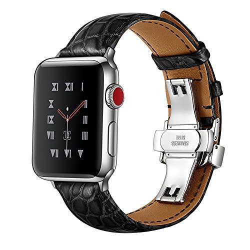 Correa Reloj para Apple Watch Series 1/2/3/4/5/6/SE, Compatibilidad iWatch 38mm 40mm/42mm 44mm con Hebilla de Acero Inoxidable, Cocodrilo Cuero Genuino Correa de Reloj,A,Black,38mm/40mm