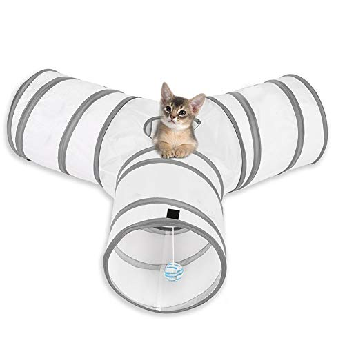 MFEI Cat Play Tunnel, Pet Tunnel 3 Way Crinkle Collapsible Tube Toy Tunnel for Cats Rabbits, Dogs, pets Father's Day Gift for His Pet (white)