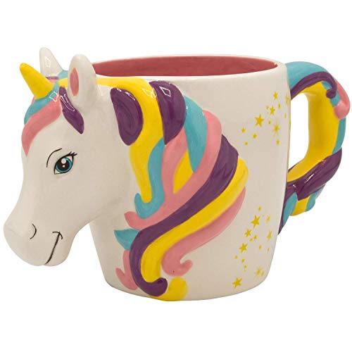 Silver Buffalo NL22553D Unicorn Shaped Ceramic 3D Sculpted Mug, 22-Ounce, Multicolored