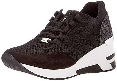 TOM TAILOR Damen 1191504 Sneaker, Schwarz, 39 EU