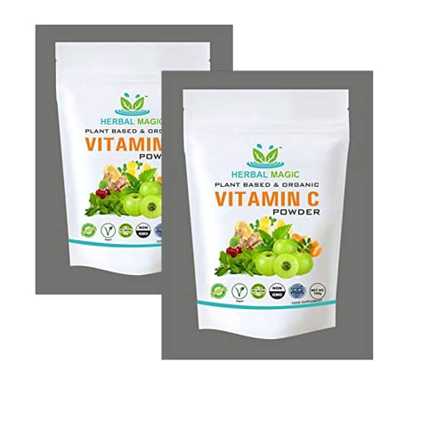 100% Pure & Natural Full Spectrum Vitamin C Powder with Amla Moringa Energy Boost Drink Fruit & Vegetables Mix Vegan, Free Boost Immunity Strength Energy Stamina (Vitamin C Powder, 200G)