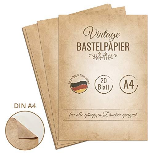 20 Blatt Vintage Briefpapier, DIN A4, beidseitig bedruckt, extra starkes 120g Papier für Urkunden, Einladungen, Geburtstag, Hochzeit, antikes Bastelpapier, Retro Papierapier, Retro Papier