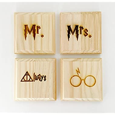 Harry Potter Mr. and Mrs. Coasters (By Brindle Designs): engraved set of 4 wood coasters - Mr., Mrs., Always Deathly Hollows, Harry (Harry Potter Wedding Gift)