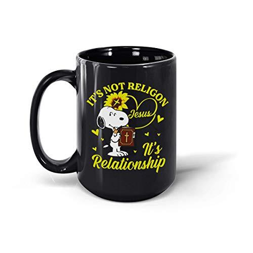 Tazza in ceramica con scritta 'It's Not Religion It's Relationship', Snoopy, 311,8 ml e 425,2 g (nero, 425,2 g)