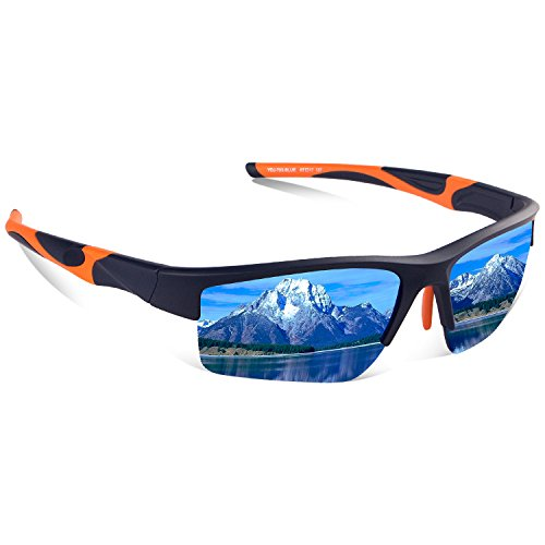 Polarized Sports Sunglasses - UV400 Protection TR90 Sunglasses for Men Women