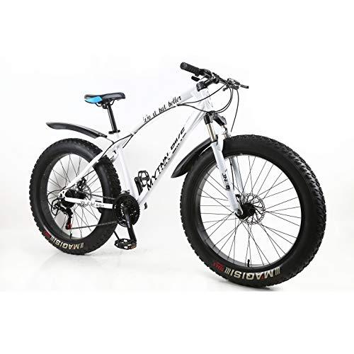 MYTNN Fatbike 26 Zoll 21 Gang Shimano Fat Tyre 2020 Mountainbike 47 cm RH Snow Bike Fat Bike (Weiße Rahmen/Schwarze Felgen)