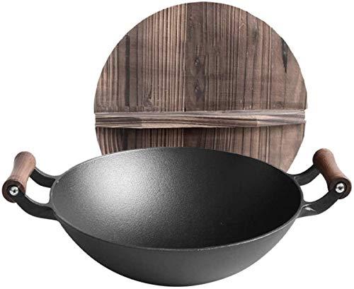 zyl Poêle à Sauter du Chef en Acier Inoxydable Wok à Couvercle en Bois à Double Oreille en Fonte poêle antiadhésive Non revêtue de ménage cuiseur à Induction à Usage général-B_36cm