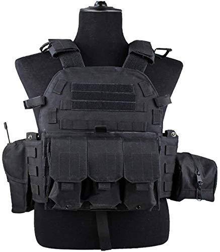 Coole atletiek Black 600D nylon tactische kogelvrije vesten jacht Mohr boord van een vliegtuig uitgerust met airbags gevechtstraining hjm zhanshubeixin (Color : Black)