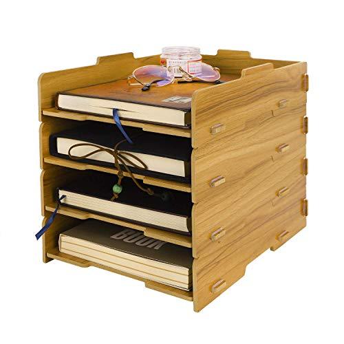 AWJ Boîte d'organisateur de Stockage en Bois Bricolage, trieuse de Bureau Portable à 4 Niveaux, bacs à empiler, bibliothèques de Stockage de Remplissage détachable
