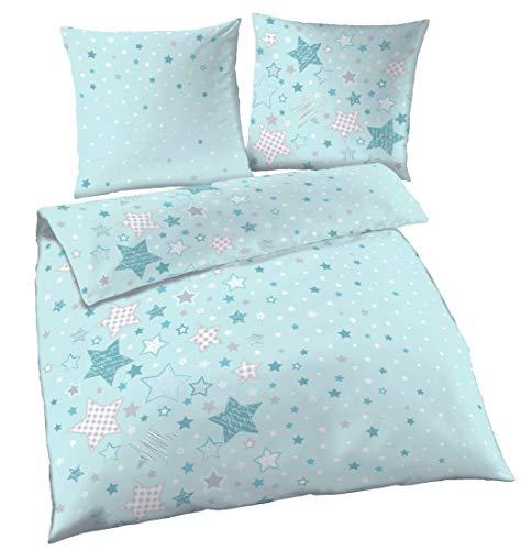Juego de sábanas infantil de franela, diseño de estrellas ☆, color turquesa, menta y gris, funda de almohada de 80x 80 cm+ funda Nórdica de 135x 200cm, 100% algodón, fabricado en Alemania