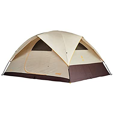Eureka! Sunrise EX 4 Waterproof Family Camping Tent - 3 Season Car Camping for Kids - Lightweight Durable Fiberglass Tent Pole Construction, Cement/Java/Orange
