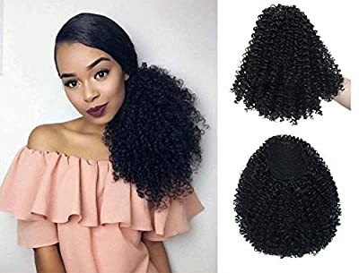 Moshina Graceful Afro Black Kinky Curly Ponytail with 2 Clips-Natural Looking As Human Hair-Afro Puff Drawstring Ponytail for Black Women -Short Afro Curly Extensions(black 1b)