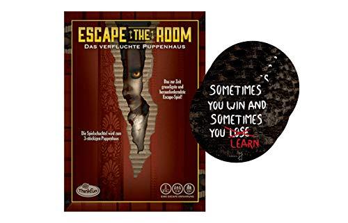 Collectix Ravensburger 76371 Thinkfun Escape The Room 3: Das verfluchte Muñechaus + 4 x pegatinas de salida para juego de mesa a partir de 13 años