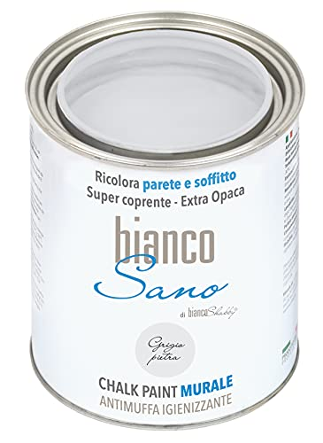 Chalk Paint ANTIMUFFA IGIENIZZANTE specifica per PARETI biancoSano Grigio Pietra - Ricolora e sanifica il tuo ambiente (1 Litro)