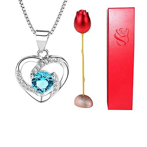 Cristal Colgante de Diamantes Collares de Plata Zirconia cúbica Collar con Colgante de Diamantes Ramo de Metal de Aluminio Rosa- Floral Regalo del día de San Valentín para Mujeres niñas