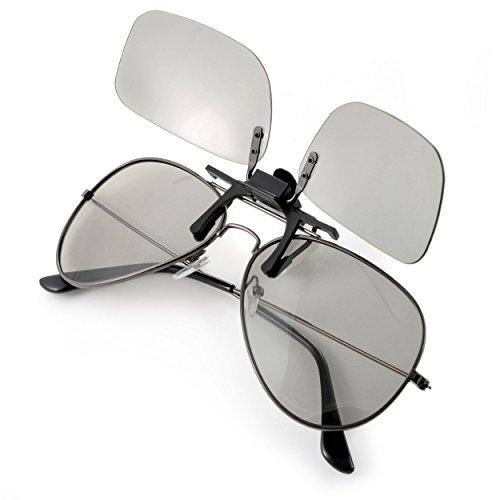 3D-brilmontuur voor brildragers, voor passieve 3D-tv's, pc-games of bioscoop realD, passieve bril (circulair gepolariseerd) kleur: zwart, merk Ganzoo