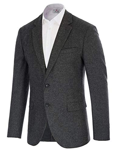 Amazon Essentials Men's Long-Sleeve Classic-fit Button-Front Stretch Blazer, Black, 48