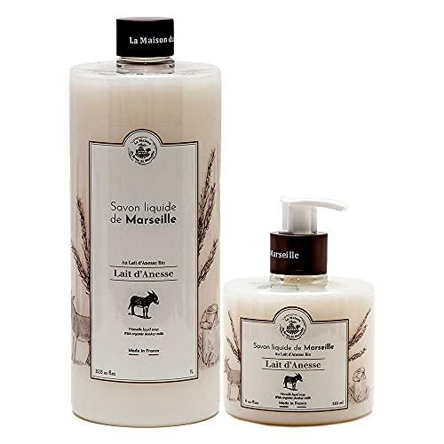 Savon De Marseille - French Flüssigseife Mit Organisch Olivenöl Und Esel Milch - Handseife 1 Liter Und 330ml Flasche Spender Paar