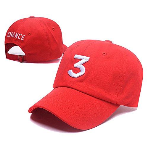 IVYRISE Embroider Chance Baseball Caps Hats Cool Baseball Rapper Number 3 Cap, Rock Hip Hop Classic Casquette with Adjustable Strap, Cotton Sunbonnet Plain Hat, Color Red