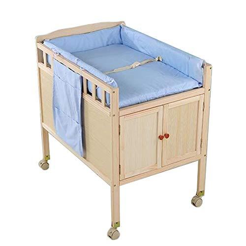 Bañera Cambiador Bebé Unidad De Mesa Para Cambiar A Los Bebés Con Taquillas Y Alfombras Azules, Muebles De Guardería De Almacenamiento En La Estación De Baño (pino)
