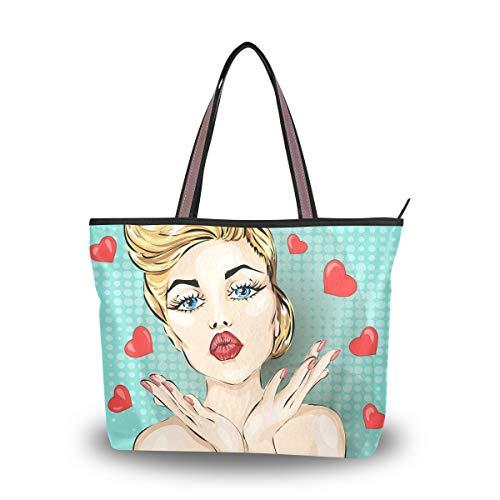 Jessgirl Männer für Frauen Sexy Frau Kuss M Leinwand Handtasche Einkaufstasche mit Taschen Große süße Tasche Langlebig
