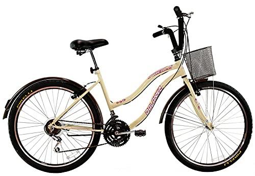 Bicicleta Aro 26 Feminina Beach Retrô 18 Marchas Bege