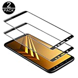 TECHKUN Protector de pantalla vidrio templado para Samsung Galaxy A8 2018 (2 unidades) [Dureza 9H + ultrafino HD completo] (Negro)