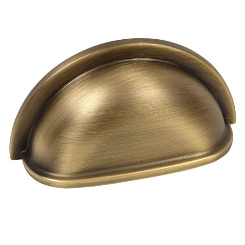 10 Pack - Cosmas 4310BAB Brushed Antique Brass Cabinet Hardware Bin Cup Drawer Handle Pull - 3 Inch (76mm) Hole Centers