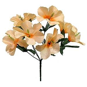 Peach 5X Hibiscus Artificial Silk Flowers Centerpiece Fake Faux Bouquet Party Tropical, for Wedding Supplies