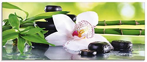 Artland Glasbilder Wandbild Glas Bild einteilig 125x50 cm Querformat Asien Wellness Zen Spa Blumen Blüten Orchideen Pflanze Steine Bambus T9IQ