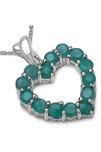 0.98 Carat Genuine Emerald 925 Sterling Silver Heart Pendant