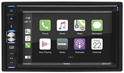 Sound Storm Laboratories DDCP62 Apple CarPlay Car Multimedia Player - Double-Din, 6.2 Inch Capacitive Touchscreen, Bluetooth Audio and Hands-Free Calling, USB, SD, Aux AV in, No CD DVD, AM/FM Radio