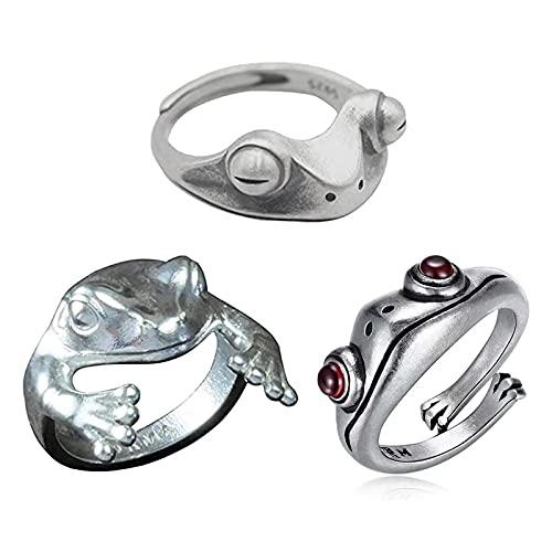 3 Stück Froschring, Vintage Frosch Tierring, Frosch Finger Verstellbarer Offener Ring, Silber Frauen Tierringe, für Valentinstag / Party / Geburtstag Schmuck
