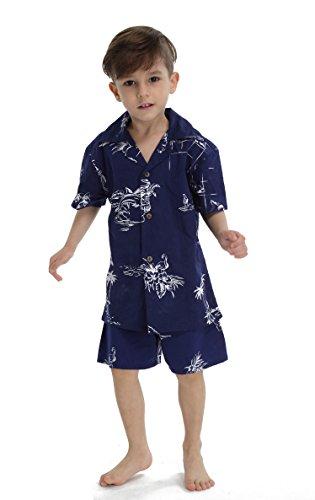 Hawaii Hangover Chico Camisa de Aloha Luau Camisa de Navidad Cabana en el Mapa de la Marina clásica 6 años
