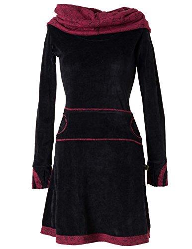 Vishes - Alternative Bekleidung – Samtkleid mit Kapuzenkragen schwarz-rot 38