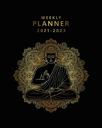 Weekly Planner 2021-2023: Sacred Buddha Agenda with To Do Lists, Vision Boards, Notes, Holidays | 3 Year Agenda, Diary, Calendar, Organizer | Golden Spiritual Mandala Print