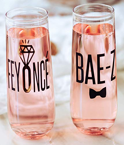 Pretty Phoxie Feyoncé Bae-Z® Stemless Wine Glasses Wine Glasses With Sayings Engagement Gift Just Engaged Funny Engagements Gifts Feyonce and Bae Z