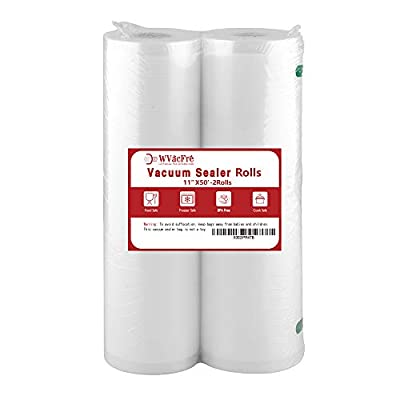 Premium!! WVacFre 2Pack 11X50 Vacuum Sealer Freezer Storage Machine Bags Rolls for Food Saver
