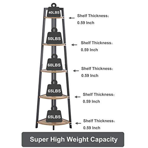FATORRI Industrial Corner Bookshelf, 5 Tier Corner Ladder Shelf, Rustic Wood and Metal Corner LadderBookcasePlant Stand (Rustic Oak)